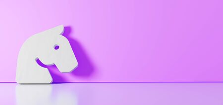 3D rendering of white symbol of horse head icon leaning on on color wall with floor blurred reflection with empty space on right side