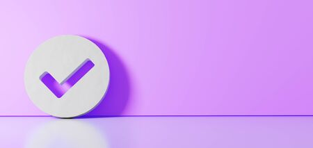 3D rendering of white symbol of check mark in circle icon leaning on on color wall with floor blurred reflection with empty space on right side Stock fotó