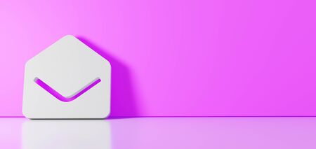 3D rendering of white symbol of post envelope open icon leaning on on color wall with floor blurred reflection with empty space on right side