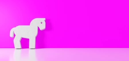 3D rendering of white symbol of horse from profile icon leaning on on color wall with floor blurred reflection with empty space on right side 免版税图像