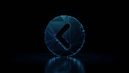 3d rendering wireframe digital techno neon glowing symbol of left chevron in circle with shining dots on black background with blured reflection on floor