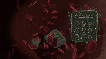 microscopic 3D rendering view of virus shaped as symbol of calculator with rounded buttons inside vein with red blood cells Archivio Fotografico