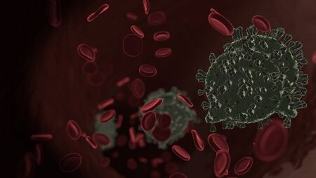 microscopic 3D rendering view of virus shaped as symbol of communication chat 14 inside vein with red blood cells
