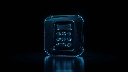 3d rendering wireframe digital techno neon glowing icon of calculator app in style with shining dots on black background with blured reflection on floor