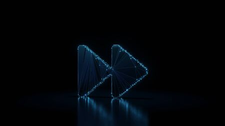 3d rendering wireframe digital techno neon glowing symbol of two right double arrows with shining dots on black background with blured reflection on floor