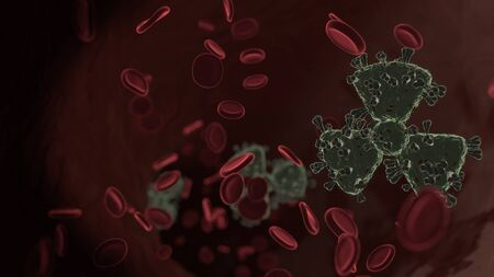 microscopic 3D rendering view of virus shaped as symbol of radiation sign inside vein with red blood cells