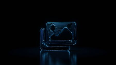3d rendering wireframe digital techno neon glowing symbol of two pictures with landscape with shining dots on black background with blured reflection on floor