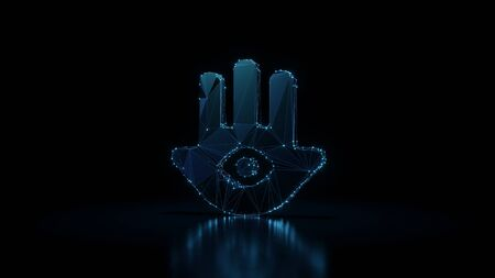 3d rendering wireframe digital techno neon glowing symbol of hand with eye inside with shining dots on black background with blured reflection on floor