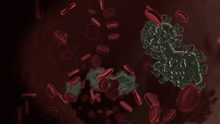 microscopic 3D rendering view of virus shaped as symbol of hand with touch gesture inside vein with red blood cells Standard-Bild