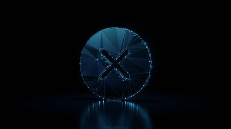 3d rendering wireframe digital techno neon glowing symbol of cancel cross in circle with shining dots on black background with blured reflection on floor