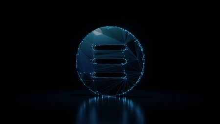 3d rendering wireframe digital techno neon glowing symbol of three lines in circle menu with shining dots on black background with blured reflection on floor