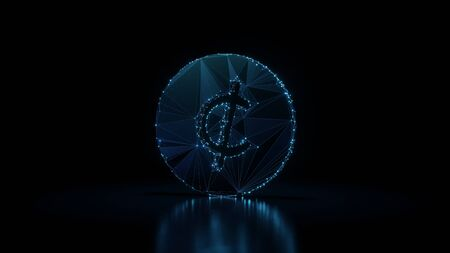 3d rendering wireframe digital techno neon glowing symbol of cent with shining dots on black background with blured reflection on floor 스톡 콘텐츠