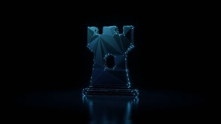 3d rendering wireframe digital techno neon glowing symbol of chess rook figure with shining dots on black background with blured reflection on floor