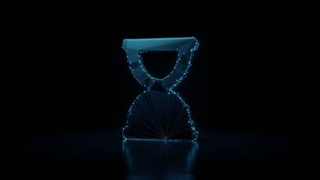 3d rendering wireframe digital techno neon glowing symbol of hourglass in end phase with shining dots on black background with blured reflection on floor