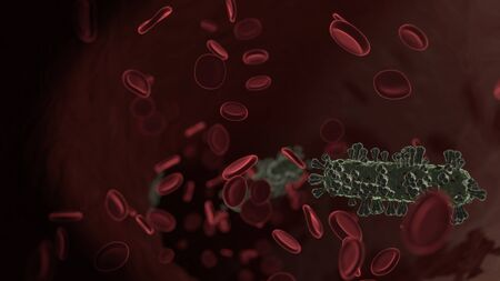 microscopic 3D rendering view of virus shaped as symbol of minus symbol inside vein with red blood cells
