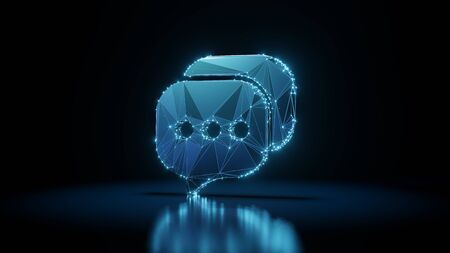 3d rendering wireframe digital techno neon glowing symbol of two rectangular rounded chat bubble with three dots with shining dots on black background with blured reflection on floor Archivio Fotografico