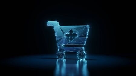 3d rendering wireframe digital techno neon glowing symbol of cart plus with shining dots on black background with blured reflection on floor Stock fotó
