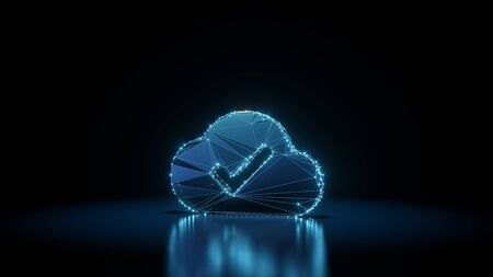 3d rendering wireframe digital techno neon glowing symbol of check mark in cloud with shining dots on black background with blured reflection on floor