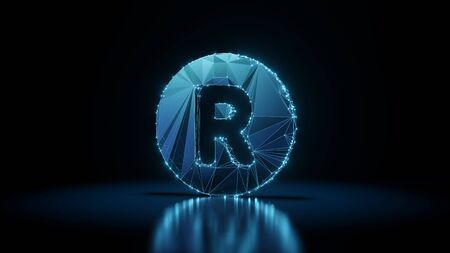 3d rendering wireframe digital techno neon glowing symbol of letter r in circle with shining dots on black background with blured reflection on floor