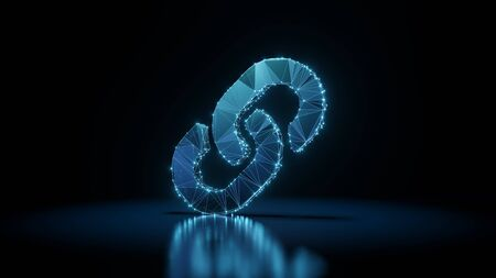 3d rendering wireframe digital techno neon glowing symbol of two thick chain links with shining dots on black background with blured reflection on floor Stock Photo