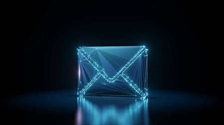 3d rendering wireframe digital techno neon glowing symbol of paper close envelope with shining dots on black background with blured reflection on floor