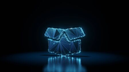 3d rendering wireframe digital techno neon glowing symbol of box open with flaps with shining dots on black background with blured reflection on floor Zdjęcie Seryjne