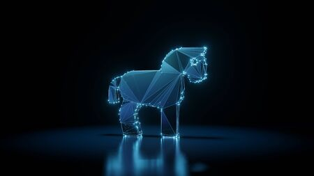 3d rendering wireframe digital techno neon glowing symbol of horse from profile with shining dots on black background with blured reflection on floor
