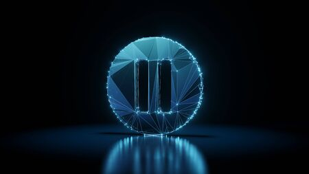3d rendering wireframe digital techno neon glowing symbol of thin iverted pause symbol in circle with shining dots on black background with blured reflection on floor