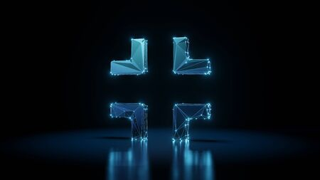 3d rendering wireframe digital techno neon glowing symbol of compress edges with shining dots on black background with blured reflection on floor Stock Photo