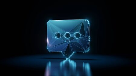 3d rendering wireframe digital techno neon glowing symbol of rectangular rounded chat bubble with three dots with shining dots on black background with blured reflection on floor Stok Fotoğraf