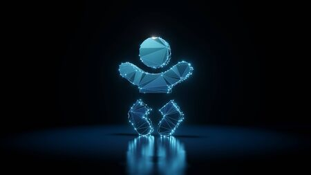 3d rendering wireframe digital techno neon glowing symbol of baby with shining dots on black background with blured reflection on floor Stock Photo