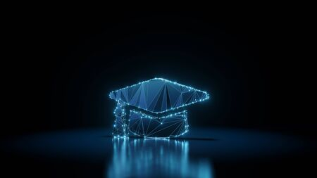 3d rendering wireframe digital techno neon glowing symbol of graduation cap with shining dots on black background with blured reflection on floor