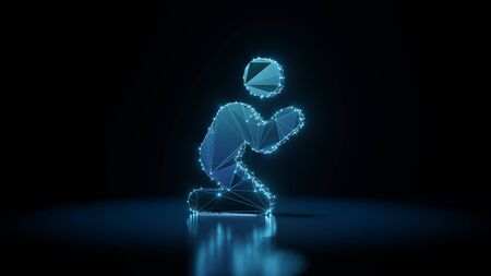 3d rendering wireframe digital techno neon glowing symbol of praying person with shining dots on black background with blured reflection on floor