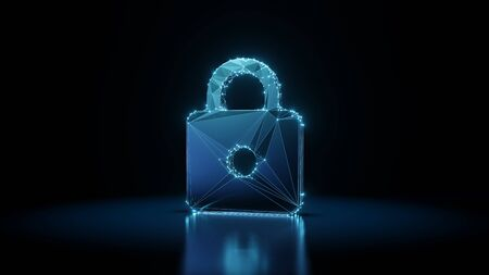 3d rendering wireframe digital techno neon glowing symbol of locked padlock with shining dots on black background with blured reflection on floor