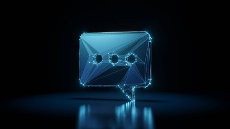 3d rendering wireframe digital techno neon glowing symbol of rectangular rounded chat bubble with three dots with shining dots on black background with blured reflection on floor Archivio Fotografico