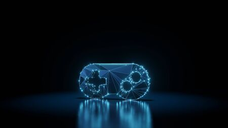 3d rendering wireframe digital techno neon glowing symbol of videogame controller with shining dots on black background with blured reflection on floor