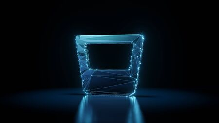 3d rendering wireframe digital techno neon glowing symbol of whiskey glass with liquid with shining dots on black background with blured reflection on floor