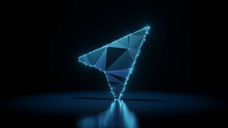 3d rendering wireframe digital techno neon glowing symbol of navigation arrow right with shining dots on black background with blured reflection on floor