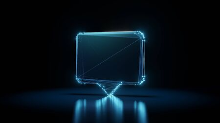 3d rendering wireframe digital techno neon glowing symbol of rectangular chat bubble with shining dots on black background with blured reflection on floor