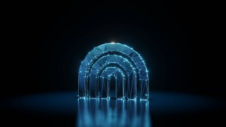 3d rendering wireframe digital techno neon glowing symbol of rainbow arch with shining dots on black background with blured reflection on floor Stock Photo
