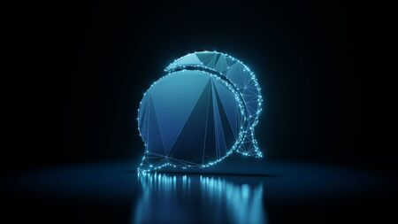 3d rendering wireframe digital techno neon glowing symbol of communication chat 14 with shining dots on black background with blured reflection on floor