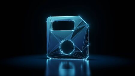 3d rendering wireframe digital techno neon glowing symbol of floppy disk with shining dots on black background with blured reflection on floor 版權商用圖片