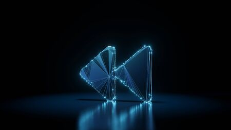 3d rendering wireframe digital techno neon glowing symbol of double fast backward left triangle rounded arrows with shining dots on black background with blured reflection on floor