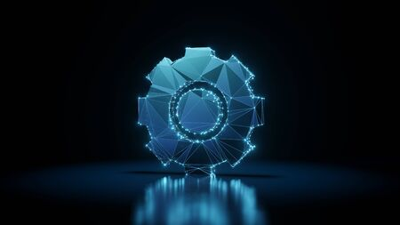 3d rendering wireframe digital techno neon glowing symbol of cogwheel with shining dots on black background with blured reflection on floor