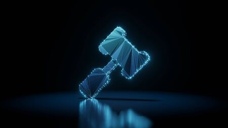 3d rendering wireframe digital techno neon glowing symbol of court hammer with shining dots on black background with blured reflection on floor