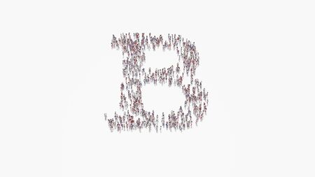 3d rendering of crowd of different people in shape of symbol of bold font on white background isolated