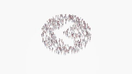 3d rendering of crowd of different people in shape of symbol of left chevron in circle on white background isolated
