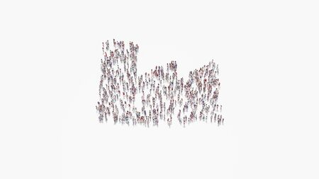 3d rendering of crowd of different people in shape of symbol of factory building on white background isolated Banque d'images
