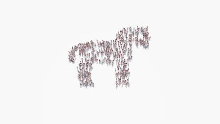 3d rendering of crowd of different people in shape of symbol of horse from profile on white background isolated