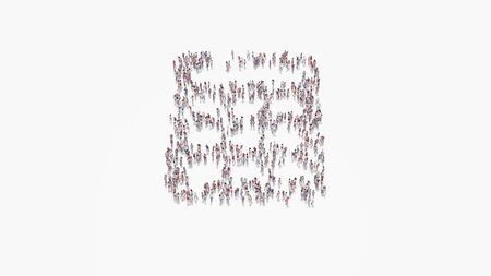3d rendering of crowd of different people in shape of symbol of calculator with rounded buttons on white background isolated